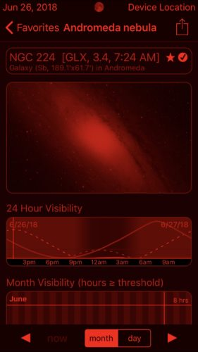 Andromeda galaxy in Observer Pro Astronomy Planner iOS app screenshot