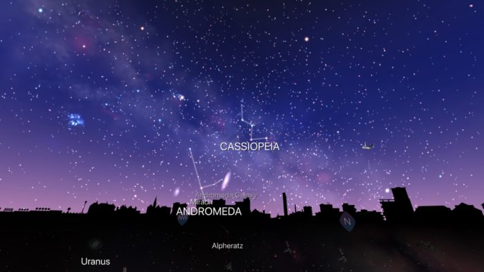 Cassiopeia and Andromeda in Night Sky iOS app screenshot