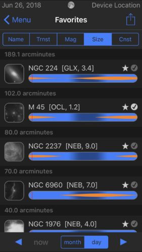 Favorites list sorted by size in Observer Pro Astronomy Planner iOS app screenshot