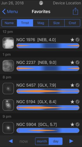 Favorites list sorted by transit in Observer Pro Astronomy Planner iOS app screenshot