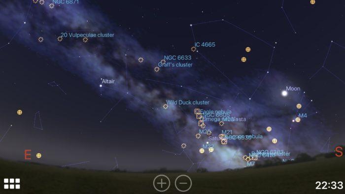 Milky Way core and Moon in Stellarium iOS app screenshot