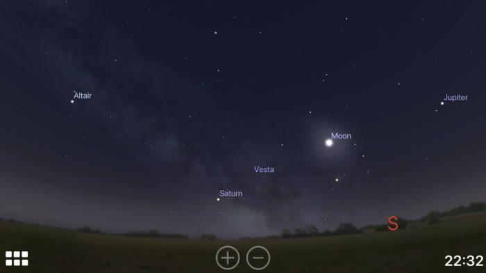 Natural view of the Milky Way in the Stellarium iOS app screenshot