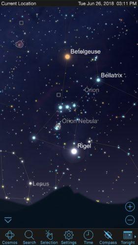 Orion in SkySafari iOS app screenshot