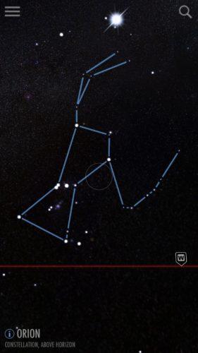 Orion constellation in SkyView iOS app screenshot