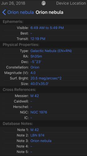 Orion Nebula detailed info in Observer Pro Astronomy Planner iOS app screenshot