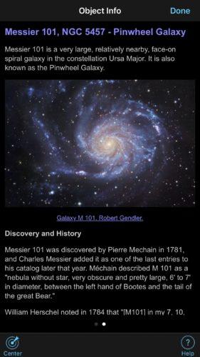 Pinwheel Galaxy info in SkySafari iOS app screenshot