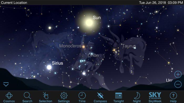 Constellations in SkySafari iOS app screenshot