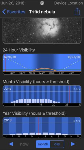 Trifid Nebula visibility in Observer Pro Astronomy Planner iOS app screenshot