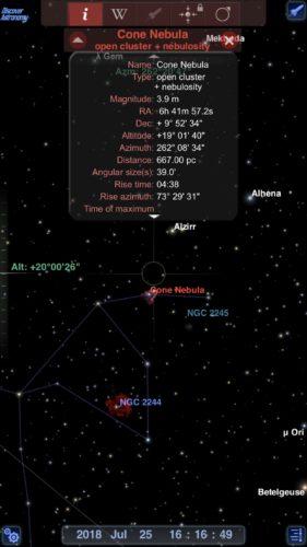 Cone nebula info in Redshift Pro Astronomy iOS app screenshot