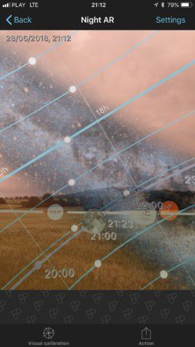 PhotoPills iOS app night augmented reality function screenshot