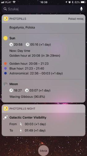 PhotoPills iOS app astrophotography widget screenshot