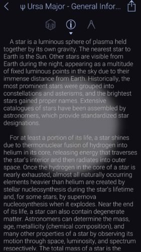 Ursa Major general information in Star Walk 2 iOS app screenshot