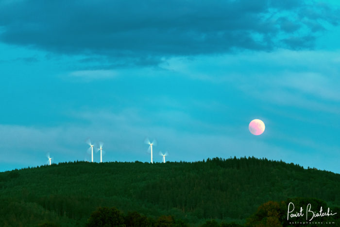 Blood Moonrise over Czech windmills