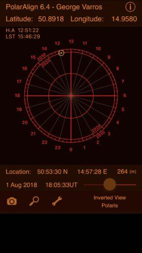Polar aligning with PolarAlign iOS app screenshot