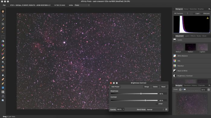 Astrophotography brightness and contrast settings in Affinity Photo