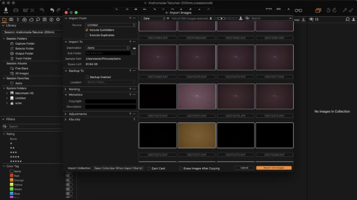 Importing astrophotography frames (lights, darks, flats) into Capture One