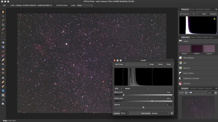 Stretching astrophotography histogram in Affinity Photo (levels adjustment)