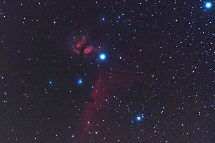 Flame and Horsehead Nebulas taken with SkyWatcher Evostar 72ED refractor telescope